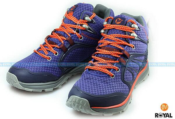 MERRELL 新竹皇家 VERTERRA MID SPORT GORE-TEX 藍紫/橘 防水運動鞋 高筒 女款 NO.I4388