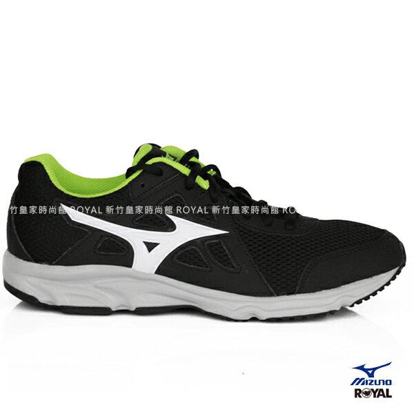 MIZUNO 新竹皇家 SPARK 2 黑色 螢光綠 網布 皮質 運動鞋 男款 NO.A8981