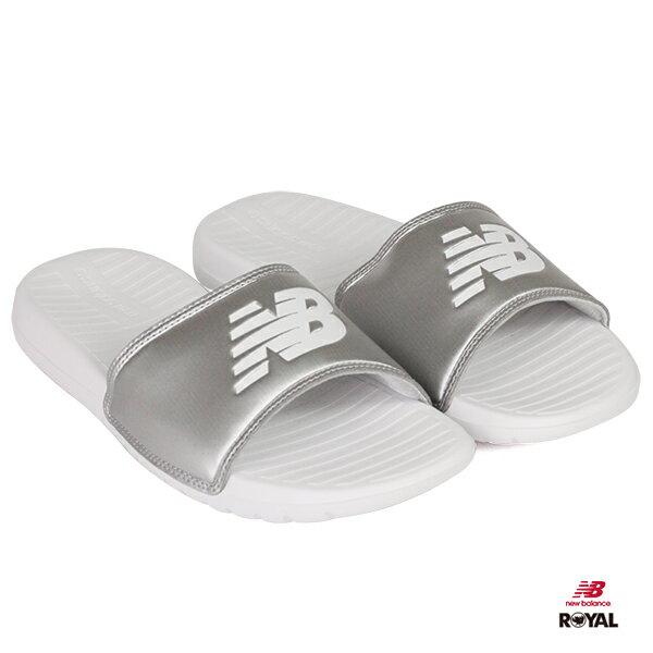 New Balance 新竹皇家 白色/銀 LOGO 皮革 輕量 拖鞋 男女款 NO.A9711
