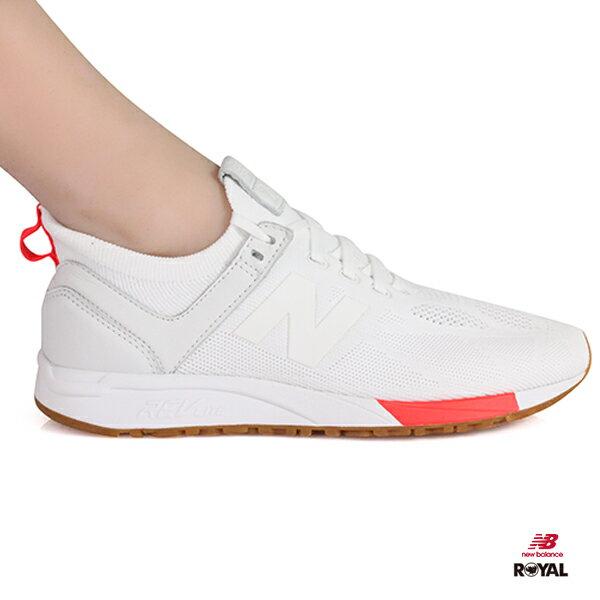 NewBalance新竹皇家247白色橘網布輕量套入式運動鞋男女款NO.A9842