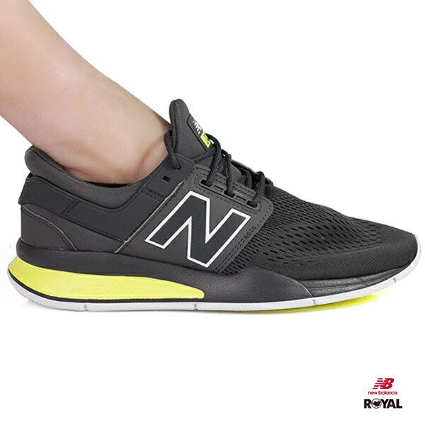 NewBalance新竹皇家247鐵灰螢光黃網布套入式運動鞋男款NO.A9895