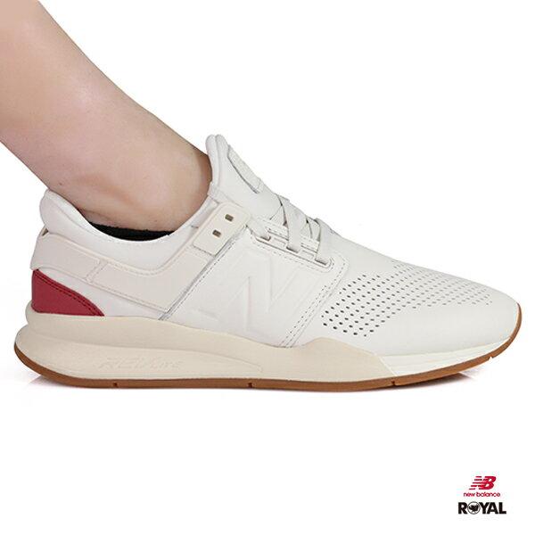 NewBalance新竹皇家247復古色系白色皮質套入式運動鞋男女款NO.A9898