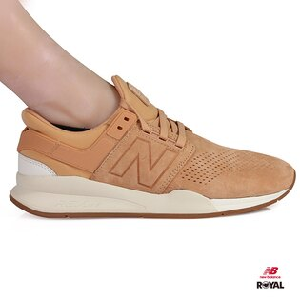 NewBalance新竹皇家247復古色系土黃色麂皮套入式運動鞋男女款NO.A9899