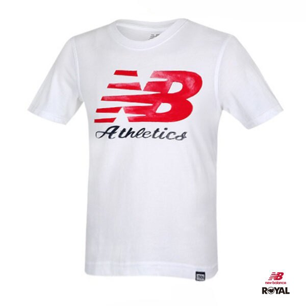 New Balance 新竹皇家 白色 紅字 LOGO 排汗 運動短袖t恤 男女款NO.H1724