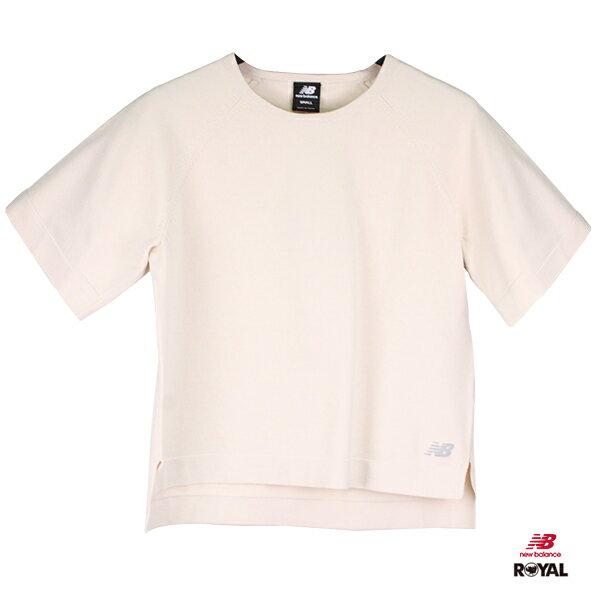 New Balance 新竹皇家 米白色 休闲 厚针织短袖上衣 女款NO.H2027