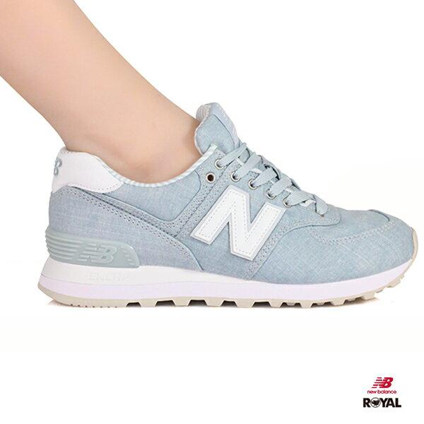 NewBalance新竹皇家574沉靜藍布質條紋休閒運動鞋女款NO.I8454