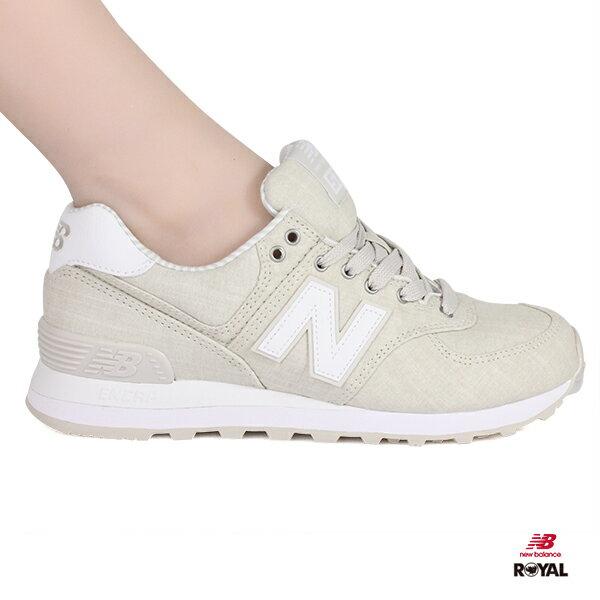 NewBalance新竹皇家574淺黃布質條紋休閒運動鞋女款NO.I8455
