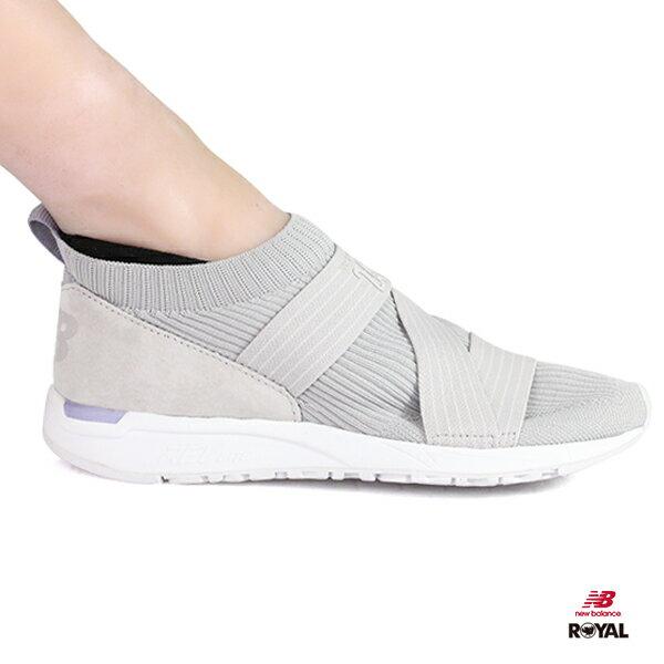 NewBalance新竹皇家247灰色彈性網布繃帶套入式運動鞋女款NO.I8905