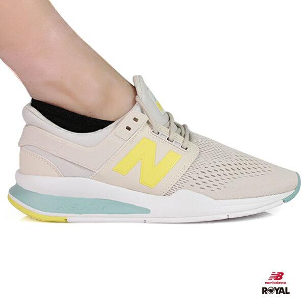 NewBalance新竹皇家247元素配色米灰網布套入式運動鞋女款NO.I8959