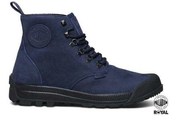 Palladium 新竹皇家 PAMPATECH HI LEA WP 深藍/黑 磨砂皮革 進化防水系列 軍靴 男款 NO.A8294