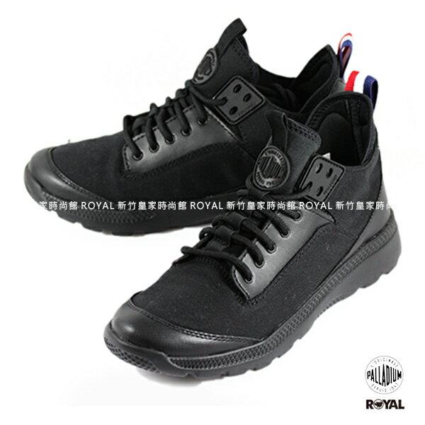 Palladium 新竹皇家 Desvilles 黑色 帆布/皮革 套入式休閒鞋 黑武士 男女款 NO.A8661