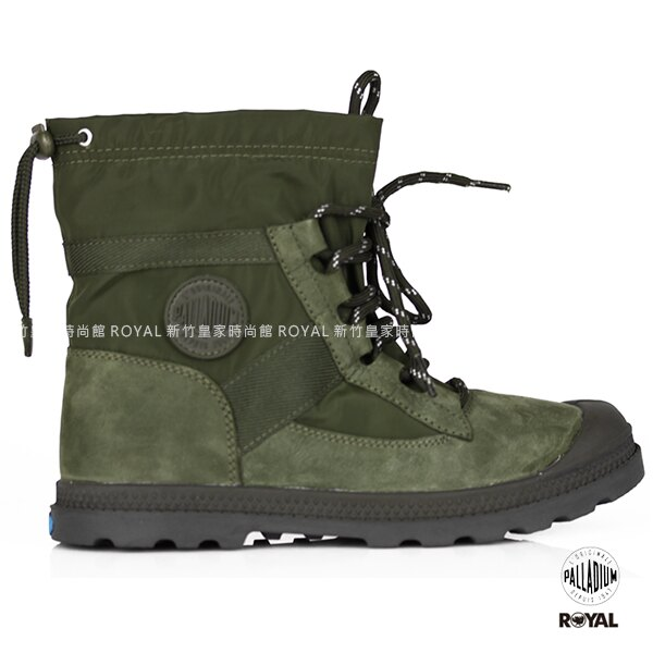 Palladium 新竹皇家 Pampa HI 墨綠 防水牛皮 雨傘布 懶人扣 雨鞋 女款 NO.I8145