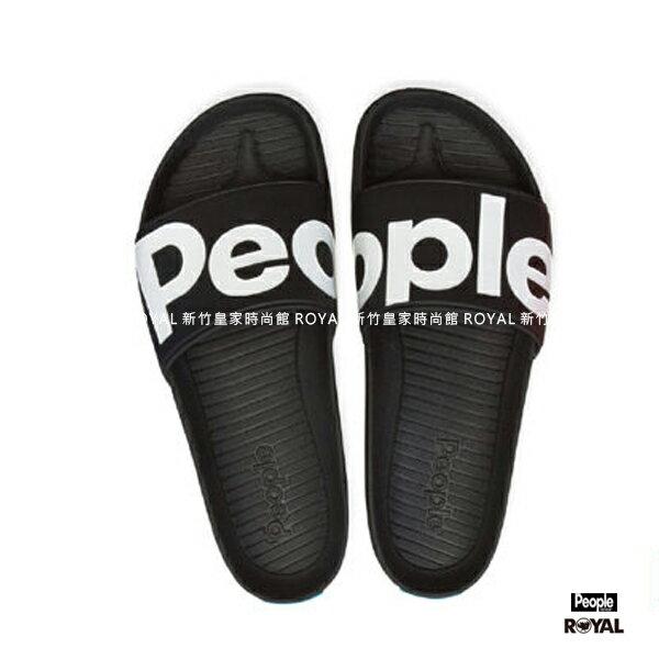 PEOPLE新竹皇家TheLennonSlied黑色織布輕量涼拖鞋男女款NO.A8780