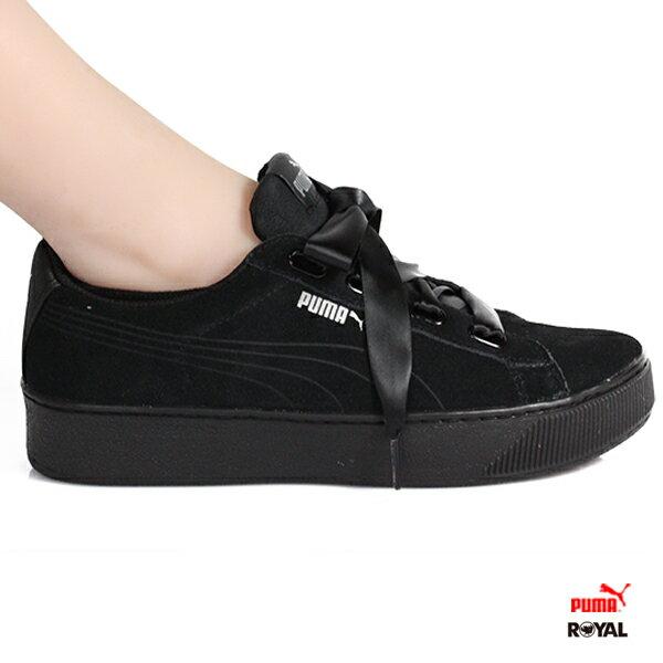 PUMA新竹皇家VikkyPlatform黑色麂皮厚底緞帶休閒鞋女款No.I8817