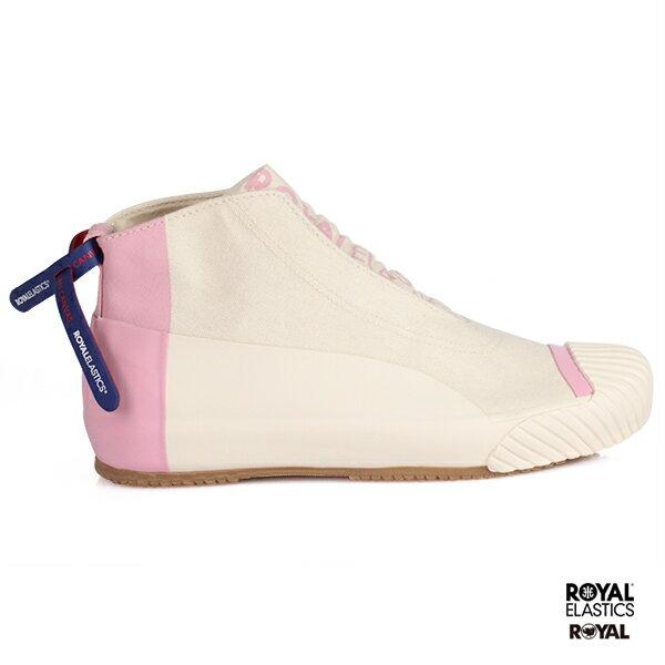 ROYAL新竹皇家LondonHI粉紅米黃帆布皮革休閒鞋女款No.I8785