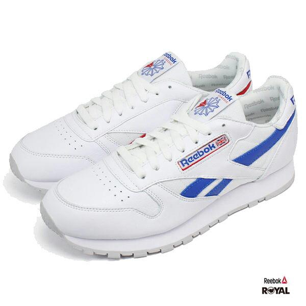Reebok 新竹皇家 CLLEATHER 白色 紅藍 皮革 慢跑鞋 男款 NO.A9062 1