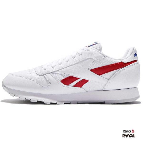 Reebok 新竹皇家 CLLEATHER 白色 紅藍 皮革 慢跑鞋 男款 NO.A9062 2