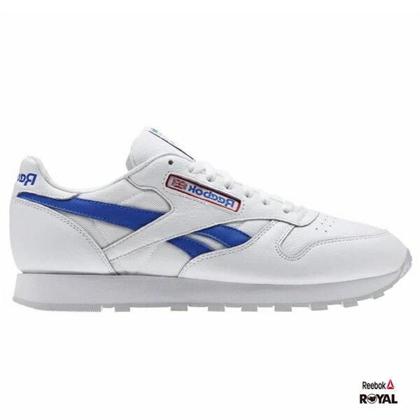 Reebok 新竹皇家 CLLEATHER 白色 紅藍 皮革 慢跑鞋 男款 NO.A9062 0