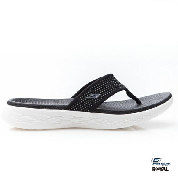 SKECHERS新竹皇家ONTHEGO黑色布質輕量拖鞋女款NO.I8393