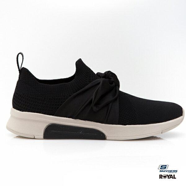 SKECHERS新竹皇家MODERNJOGGER黑色織布緞帶休閒運動鞋女款NO.I8910