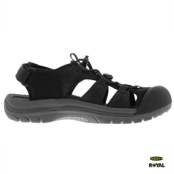 Keen新竹皇家VICTORIA黑色皮質護趾涼鞋女款NO.I8402