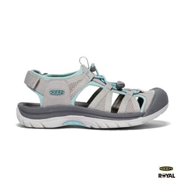Keen新竹皇家VICTORIA灰色皮質護趾涼鞋女款NO.I8403