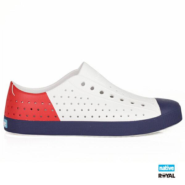 Native新竹皇家JEFFERSONBLOCK白色三色奶油頭懶人鞋No.A9889