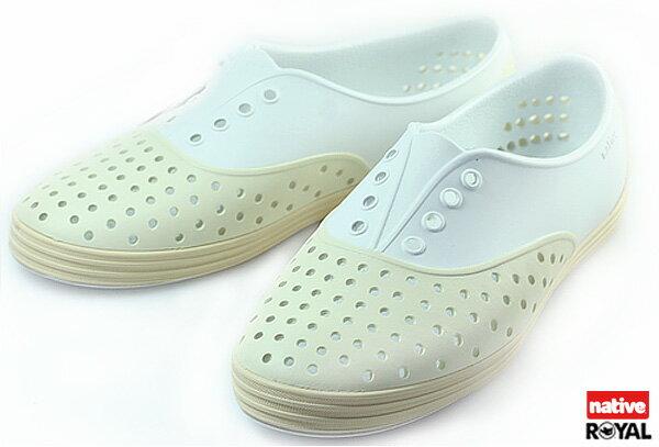 (特價1299)新竹皇家 加拿大 Native JERICHO 白/米色 呼吸 輕量 橡膠 鞋款 女款 免運費NO.I3839