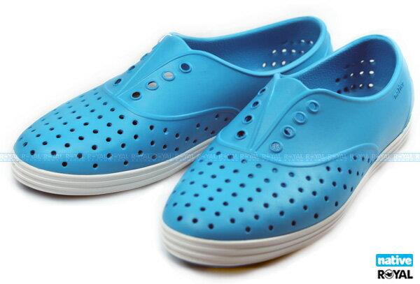 (特價1299)Native 新竹皇家 JERICHO 藍色 輕量 懶人鞋 女款 NO.I5178