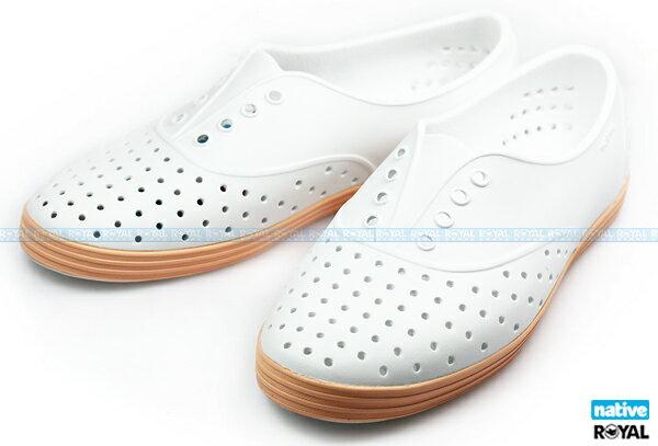 (特價1299)Native 新竹皇家 JERICHO 白/橘 輕量 懶人鞋 NO.I5561