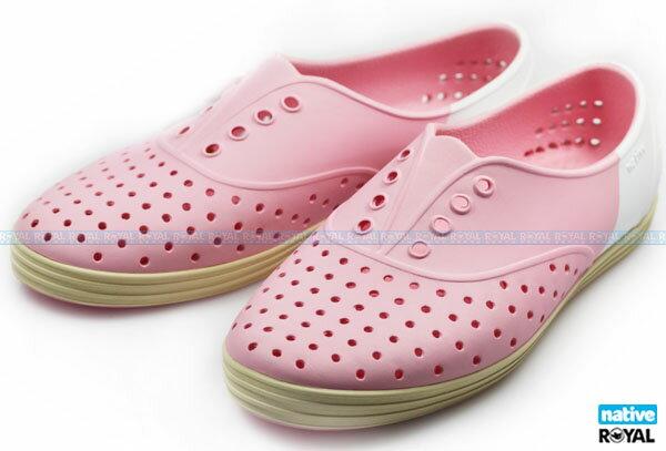 (特價1299)Native 新竹皇家 JERICHO 粉白/米色 色塊系列 輕量 懶人鞋 女款 NO.I5573