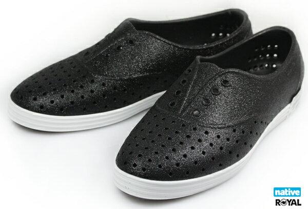 Native 新竹皇家 JERICHO 黑色 亮片 輕量 懶人鞋 女款NO.I6930