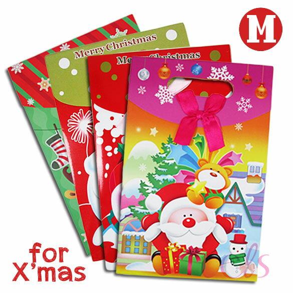 聖誕系列 黏扣禮物袋(中) 手提翻蓋袋 手提袋 立體紙袋 提袋 包裝袋 禮品/禮物袋 ☆艾莉莎ELS☆