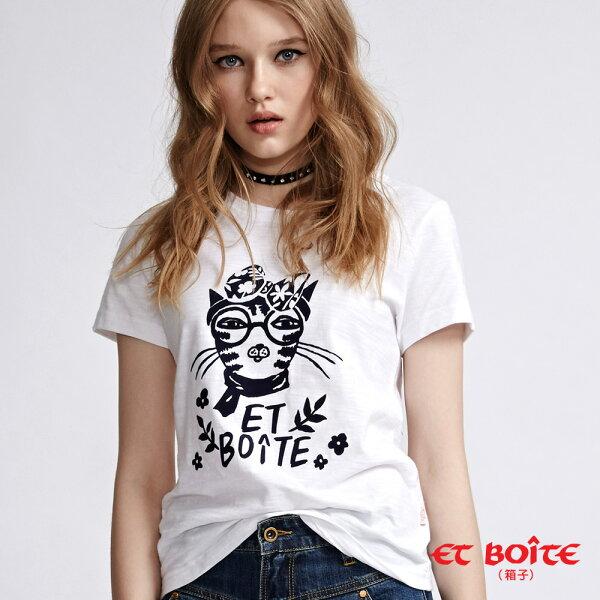 【新品9折】ETAmour蝴蝶結貓咪短袖T恤(白)-BLUEWAYETBOiTE箱子
