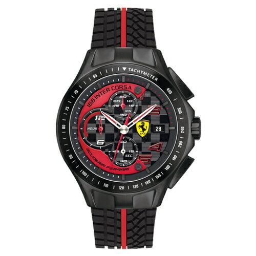 FERRARI Scuderia 急速 風黑鋼膠帶腕錶 0830077 ~  好康折扣