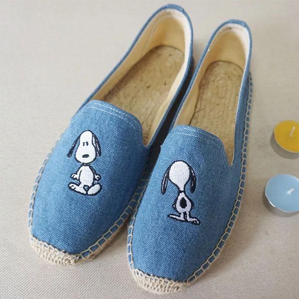 深牛仔 snoopy 草編鞋 平底鞋 包頭鞋 便鞋 小白鞋 編織鞋 帆布鞋 懶人鞋 休閒鞋 歐美日韓 史奴比 史努比 ANNA S.