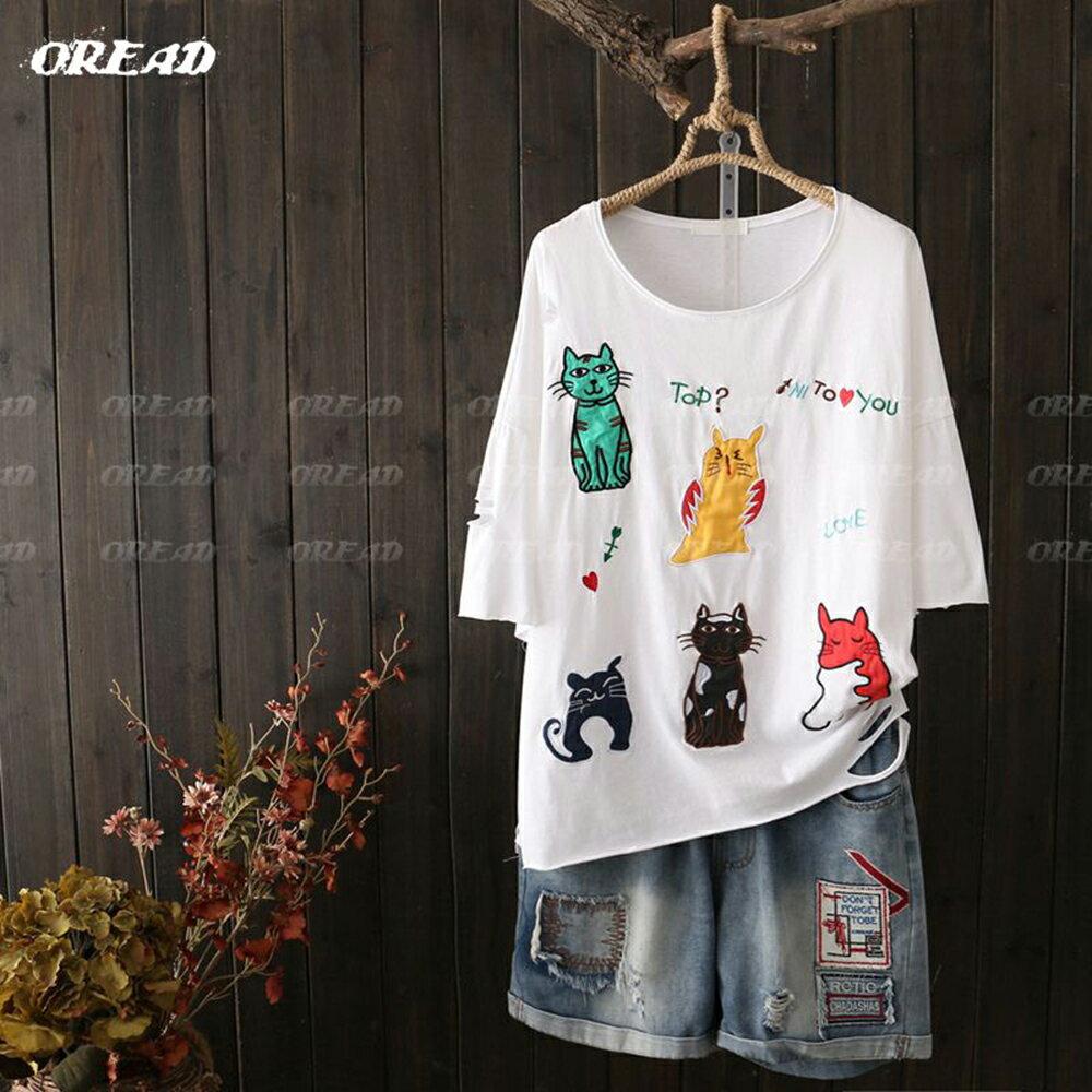 可愛多彩貓咪刺繡短袖上衣(4色F碼) *ORead* 3