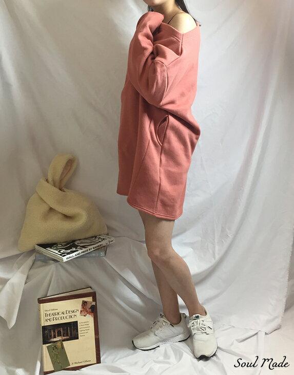 Soul Made - 韓製 平領內刷毛側口袋長版衣 4色 5