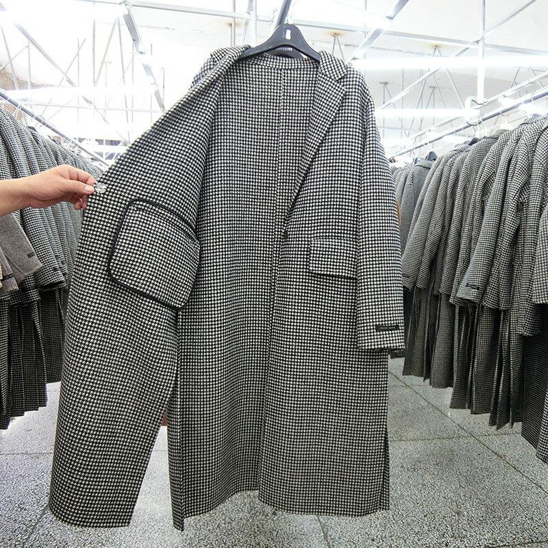 毛呢大衣羊毛外套-長版黑色千鳥格繫帶女外套73wb7【獨家進口】【米蘭精品】 1