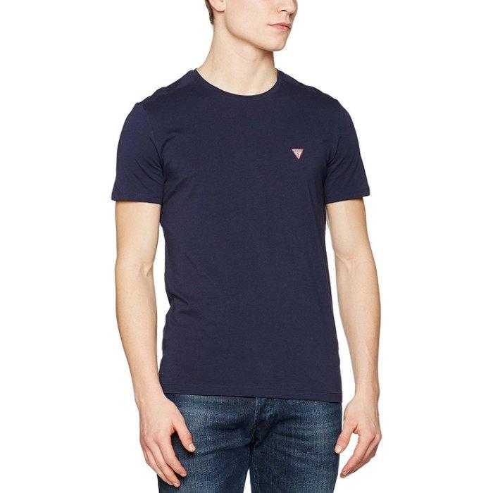 美國百分百【全新真品】Guess T恤 T-shirt 短袖 短T 經典 logo 素面 上衣 深藍色 S號 I195