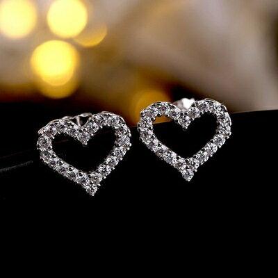 ~925純銀耳環鑲鑽耳飾~閃耀鏤空愛心 七夕情人節 女飾品73gk49~ ~~米蘭 ~