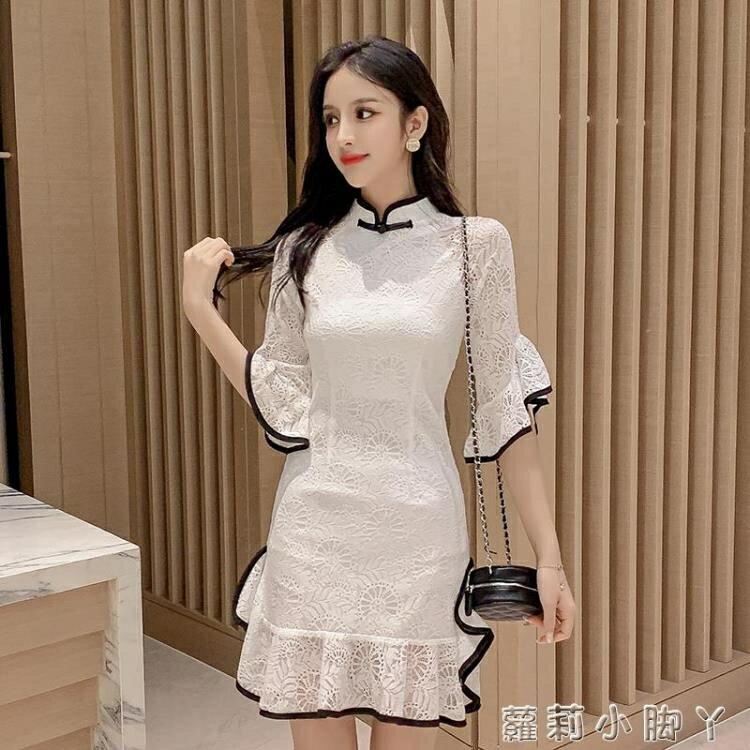 2021年夏季新款名媛氣質改良旗袍短裙收腰顯瘦小個子蕾絲連衣裙女 摩可美家