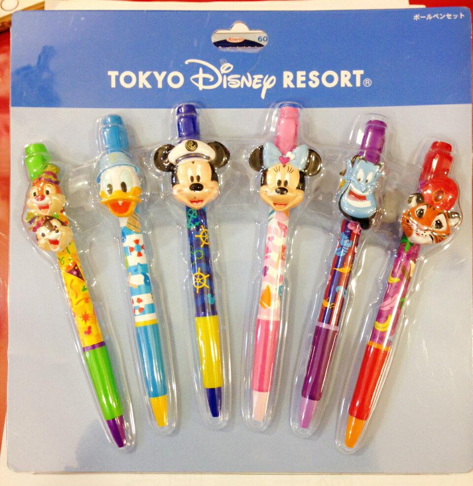 【真愛日本】14122300055 樂園限定筆組-6入迪士尼 米奇 米妮 唐老鴨 原子筆 書寫 文具用品