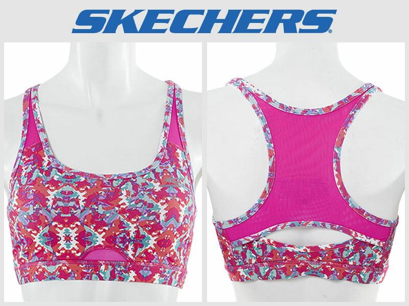 Shoestw【GWPBR678MULT】SKECHES 運動內衣 彈性排汗衣 桃紅花卉 透氣 0