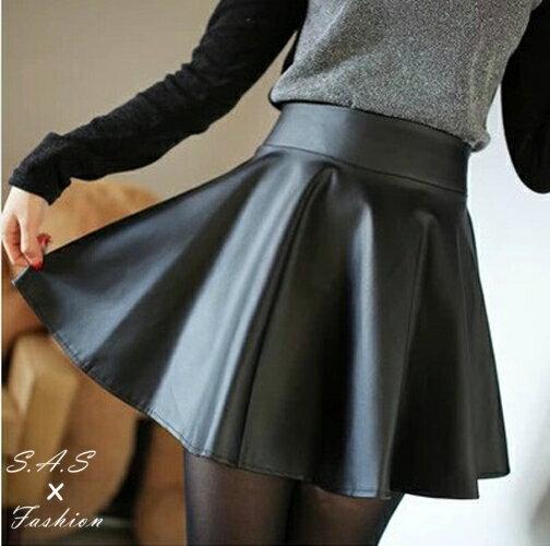 皮裙 太陽裙 PU皮裙 高腰半身裙 A字裙 傘裙 圓裙 鬆緊帶裙子 164