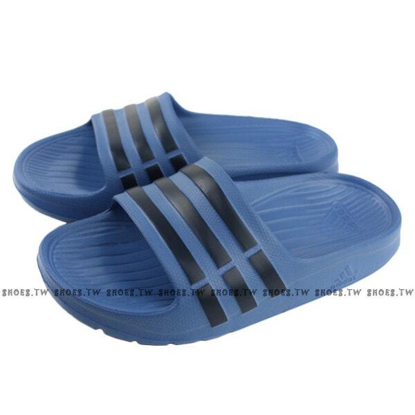 Shoestw【CP9383】ADIDAS DURAMO SLIDE K 拖鞋 一體成型 藍深藍條 大童★APP限定 | 滿1000結帳輸入『19Jan100』再折100 ❤ 滿2000結帳輸入『19CNY200』再折200★
