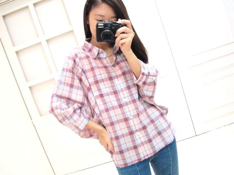 純棉格紋設計感寬袖襯衫