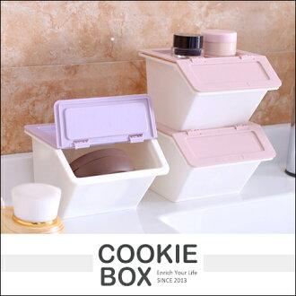 迷你 可堆疊 翻蓋式 桌面 文具 雜物 收納盒 (顏色隨機出貨) 掀蓋 整理箱 置物盒 化妝盒 *餅乾盒子*