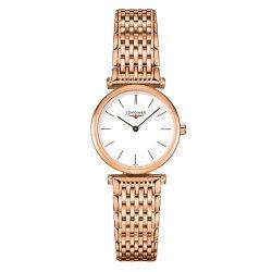 LONGINES 浪琴錶L42091928玫瑰金嘉嵐石英超薄腕錶/白面24mm