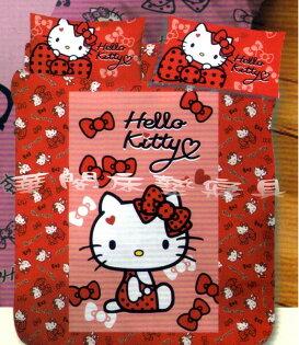 *華閣床墊寢具*《HelloKitty.蝴蝶結甜心-紅》單人床包兩用被套三件組三麗鷗授權台灣製